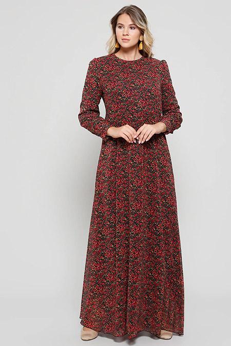 Alia Bordo Desenli Elbise
