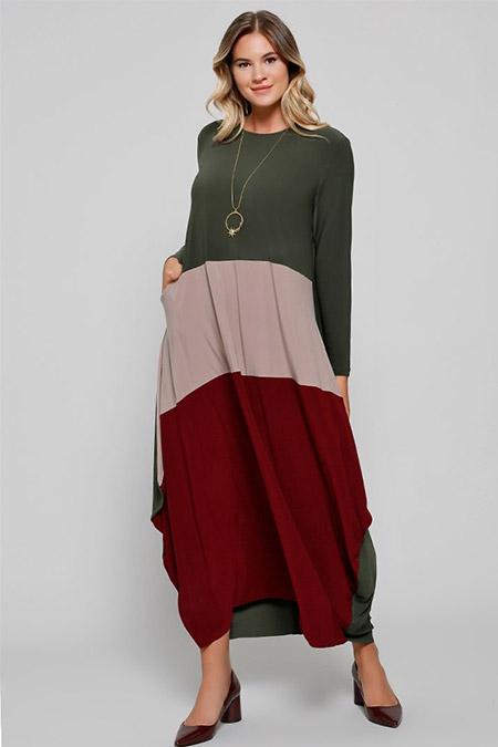 Alia Haki Bordo Cep Detaylı Garnili Elbise