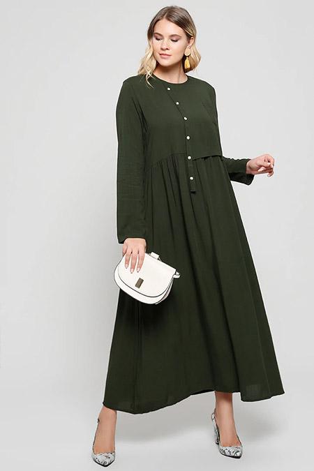 Alia Haki Doğal Kumaşlı Cep Detaylı Elbise