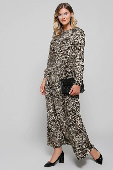 Alia Kahve Doğal Kumaşlı Leopar Desenli Elbise