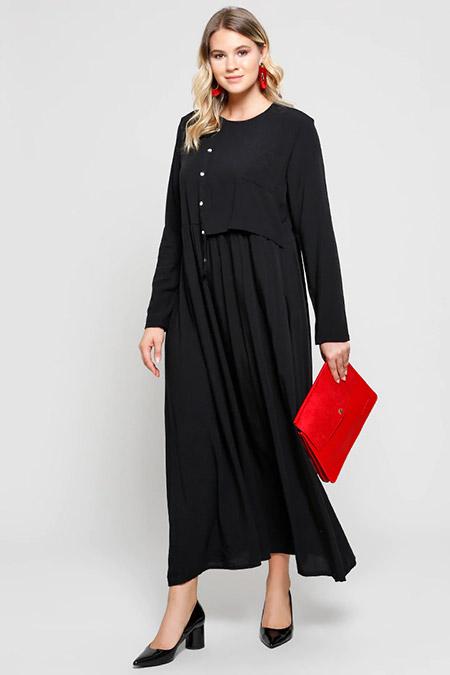 Alia Siyah Doğal Kumaşlı Cep Detaylı Elbise