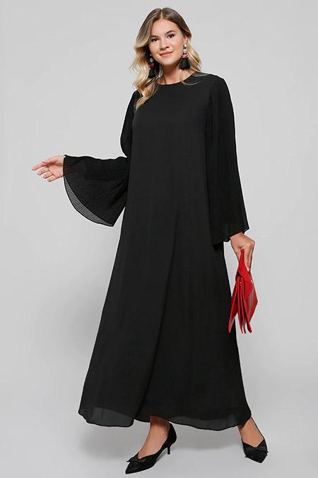 Alia Siyah Kolları Piliseli Abiye Elbise