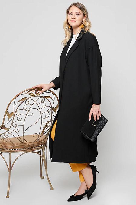 Alia Siyah Tek Düğmeli Ceket
