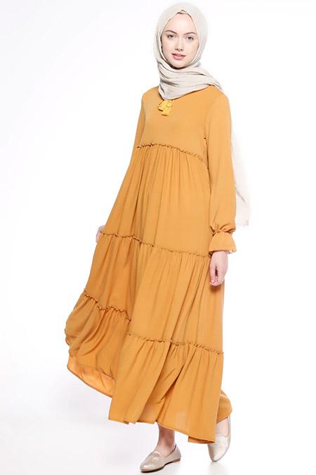 Beha Tesettür Hardal Fırfırlı Elbise