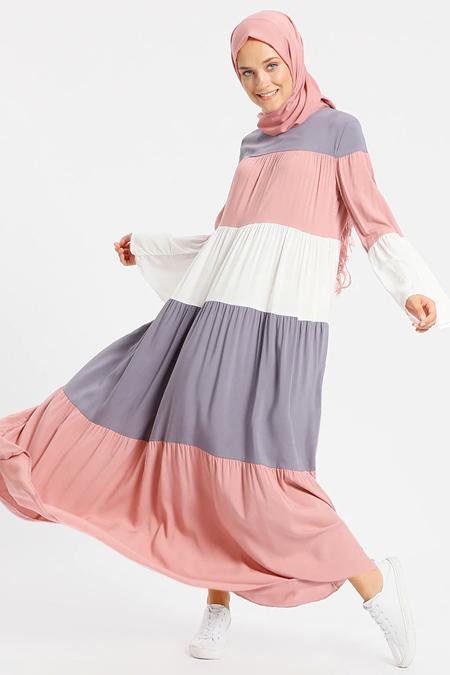 Benin Gül Kurusu Doğal Kumaşlı Garnili Elbise