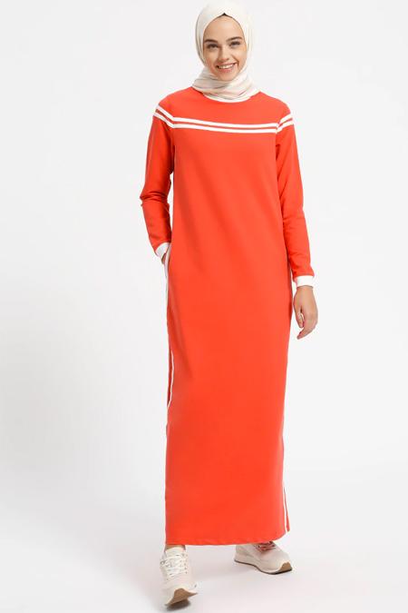 Benin Koral Doğal Kumaşlı Cep Detaylı Elbise