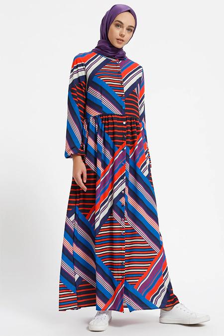 Benin Lacivert Boydan Düğmeli Çizgili Elbise