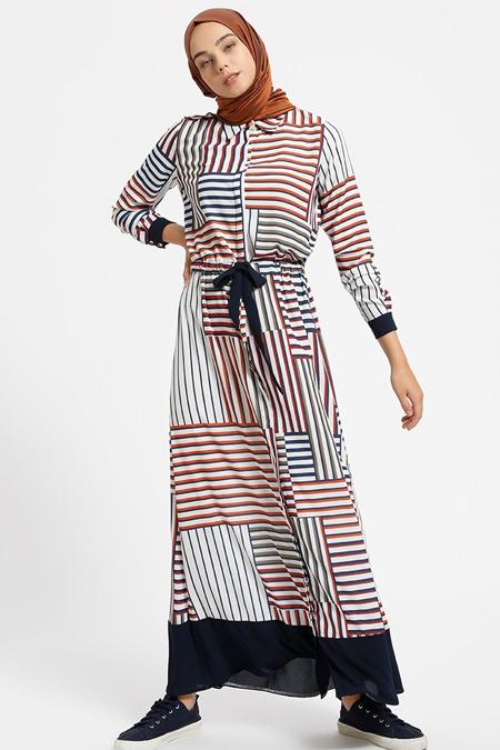 Benin Lacivert Boydan Gizli Düğmeli Çizgili Elbise