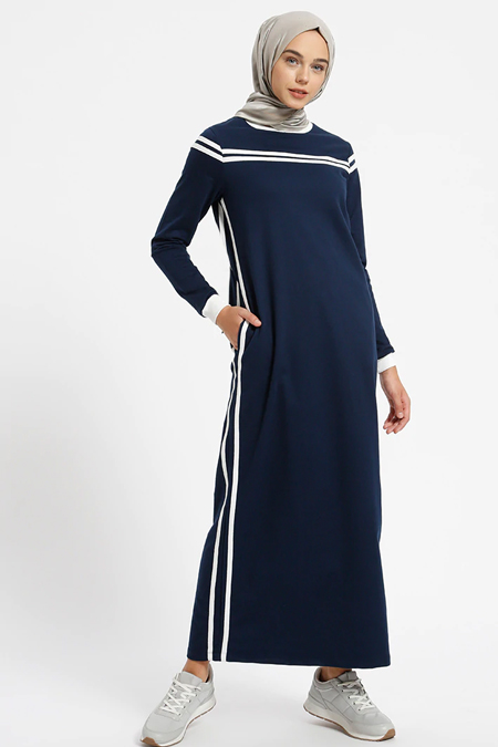 Benin Lacivert Doğal Kumaşlı Cep Detaylı Elbise
