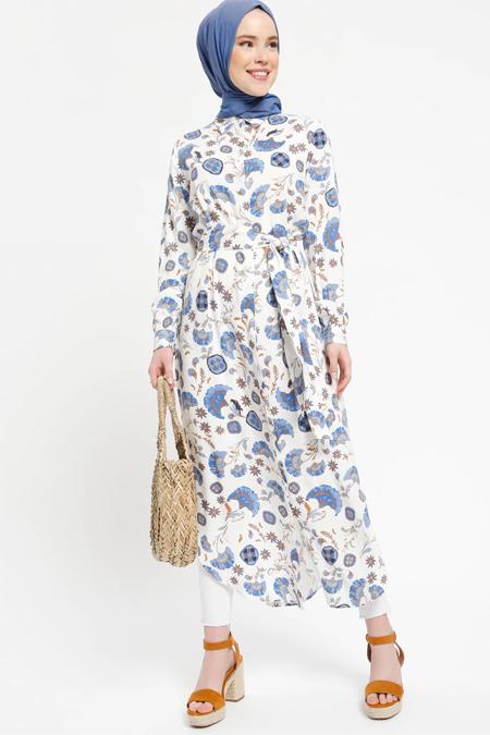 Benin Mavi Doğal Kumaşlı Gizli Düğmeli Tunik Elbise