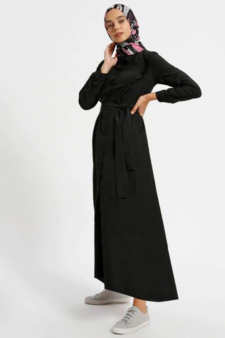 Benin Siyah Cepli Boydan Düğmeli Elbise