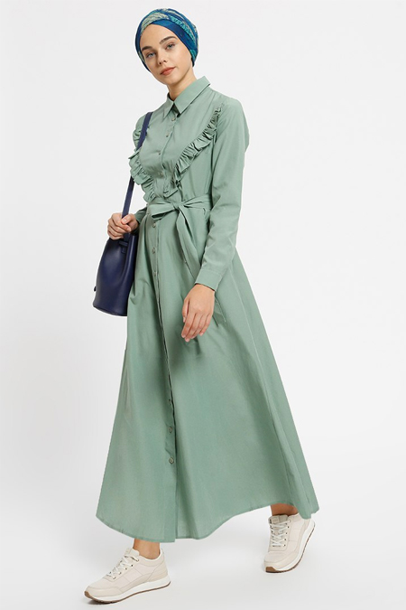 Benin Zeytin Yeşili Cepli Boydan Düğmeli Elbise
