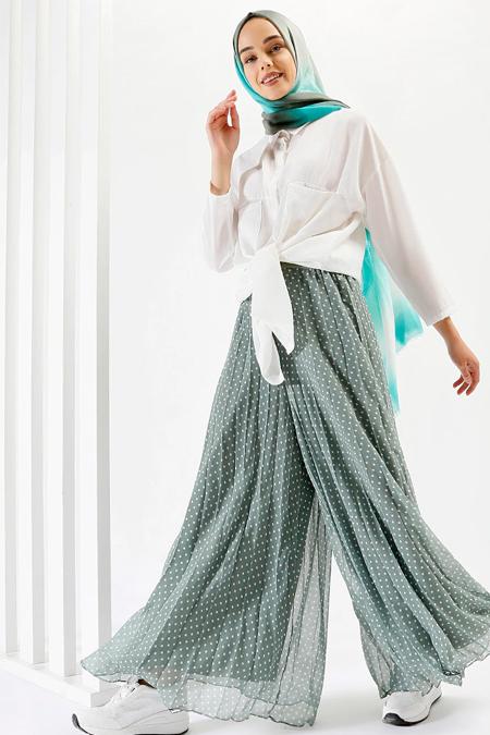Benin Zeytin Yeşili Piliseli Pantolon