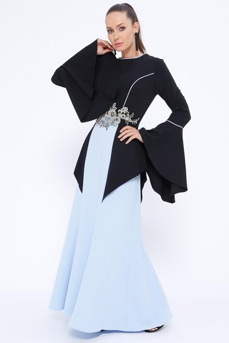 Butik Neşe Bebe Mavi Güpür Detaylı Yarasa Kollu Abiye Elbise