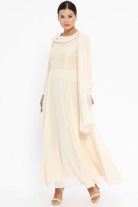 Butik Neşe Bej Yakası Çiçek Detaylı Dantelli Abiye Elbise