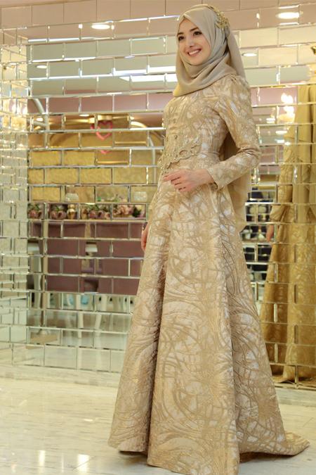 Gamze Özkul Gold Şahsenem Abiye Elbise