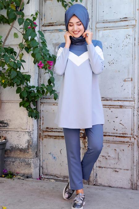 Gamze Özkul Mavi Boon Tunik & Pantolon İkili Takım