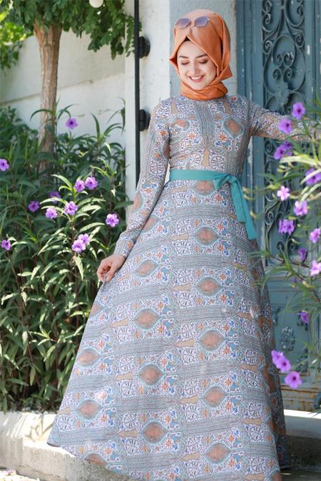 Gamze Özkul Mint Yeşili Gülfem Elbise