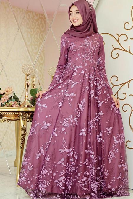 Gamze Özkul Mor Ahsen Abiye Elbise