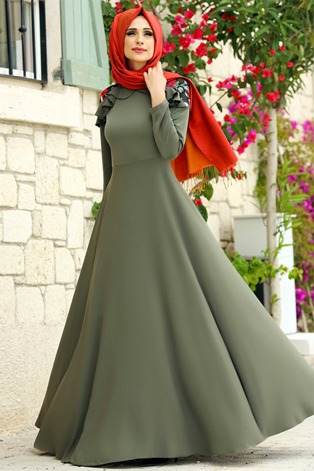 Gizem Kış Haki Çağla Elbise