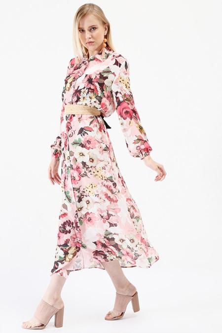 İkoll Pudra Boydan Düğmeli Elbise