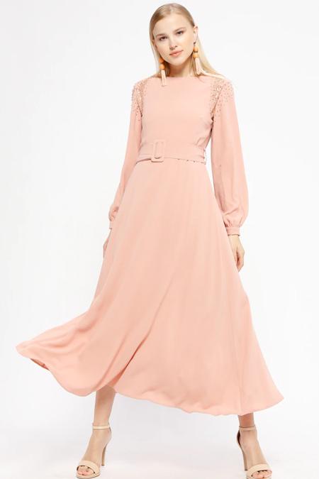 İkoll Pudra Dantelli Elbise