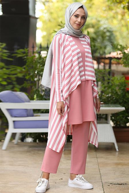 İnşirah Pudra Tunik & Pantolon Üçlü Takım