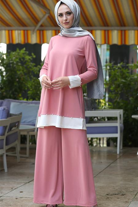 İnşirah Pudra Tunik & Pantolon İkili Takım