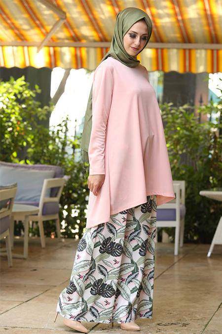 İnşirah Pudra Yeşil Tunik & Pantolon İkili Takım