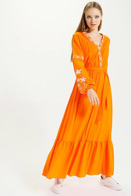 Kaktüs Oranj Nakışlı Balon Kol Uzun Elbise