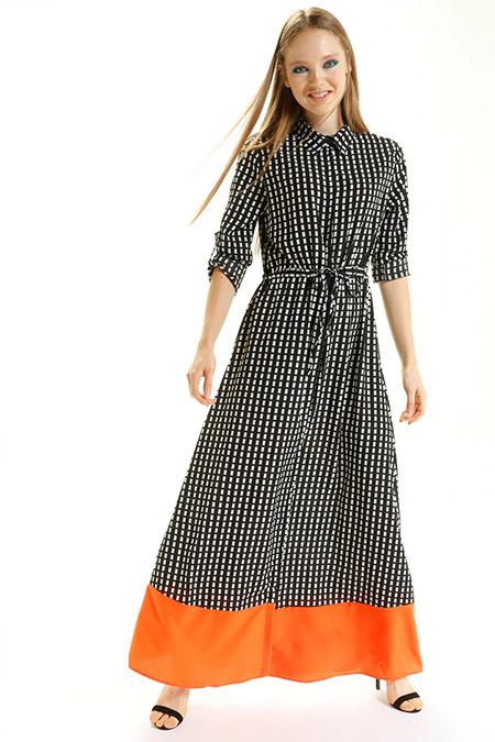 Kaktüs Siyah Oranj Piti Kareli Etek Ucu Renkli Elbise