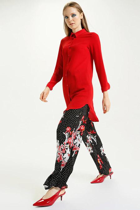 Kaktüs Siyah Puantiye Çiçek Desenli Bol Paça Pantolon