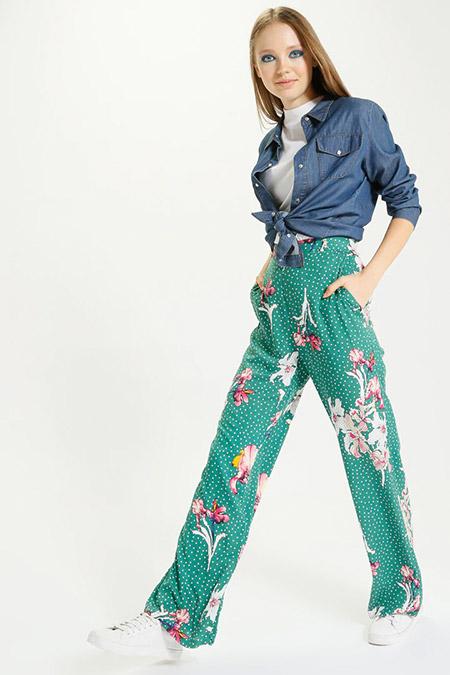 Kaktüs Yeşil Puantiye Çiçek Desenli Bol Paça Pantolon