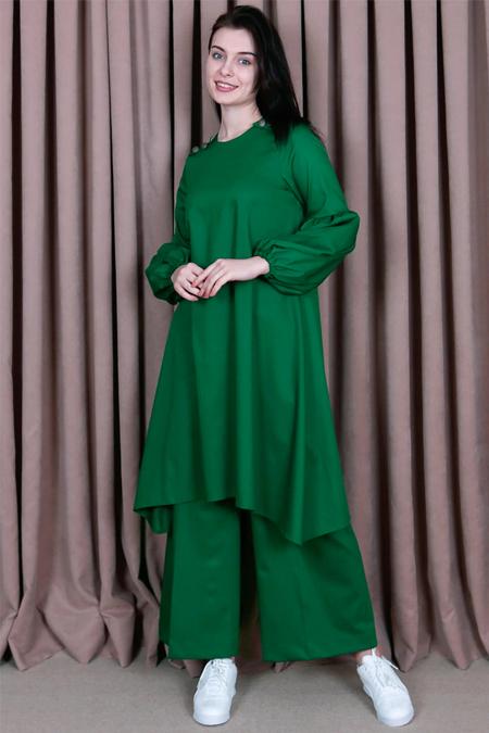 Kübra Biriktir Yeşil Şehrazat Pantolon & Tunik İkili Takım