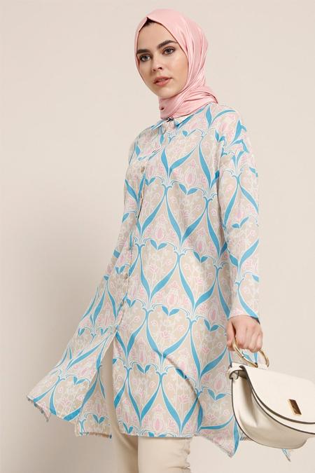 Refka Mavi Doğal Kumaşlı Desenli Tunik