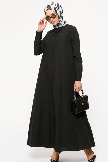 Refka Siyah Düğmeli Elbise