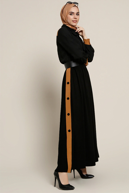 Refka Siyah Şifon Garnili Elbise