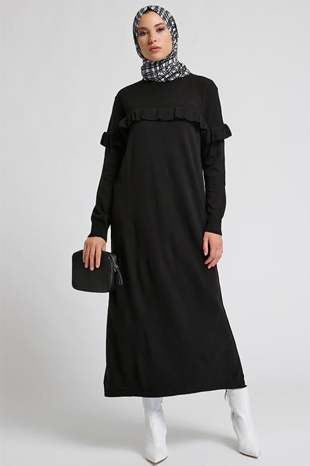 Refka Siyah Triko Elbise