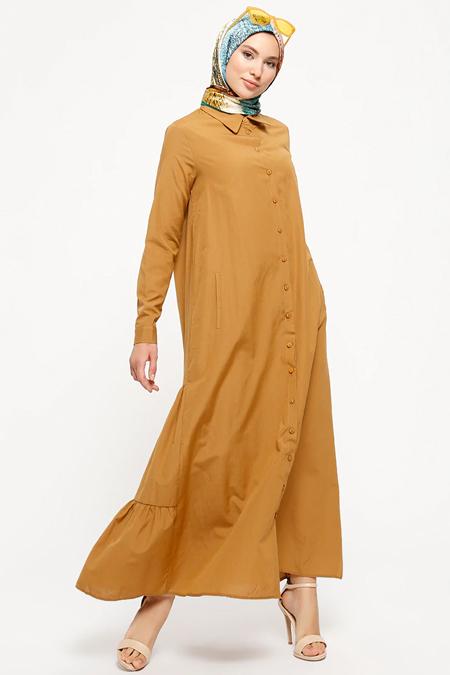 Refka Tarçın Düğmeli Elbise