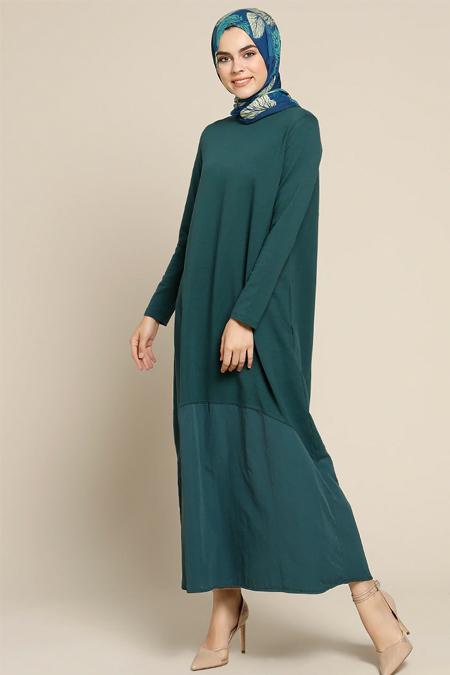 Refka Zümrüt Garnili Elbise