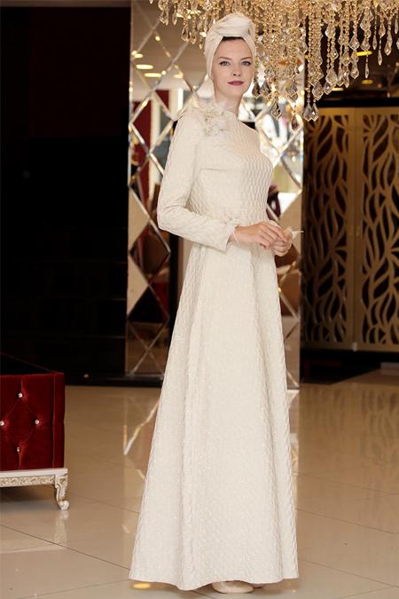 Selma Sarı Design Ekru Jakar Aksesuarlı Abiye Elbise
