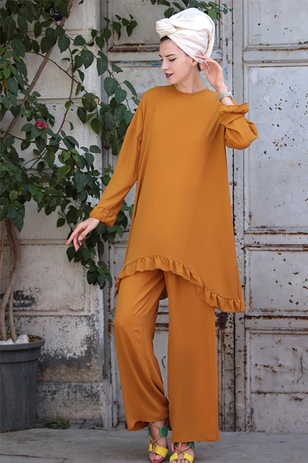 Selma Sarı Design Hardal Rahat Kesim Kope Krep İkili Takım