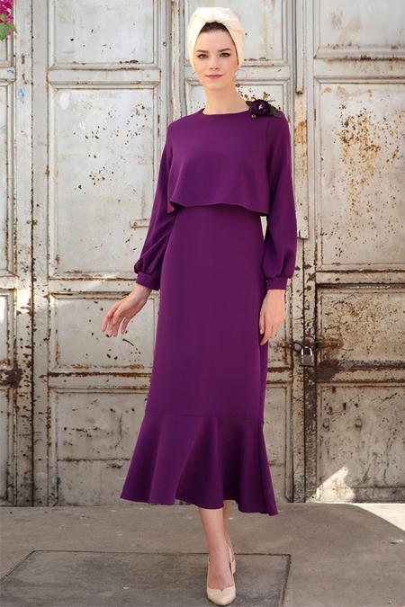 Selma Sarı Design Mor Viole Elbise