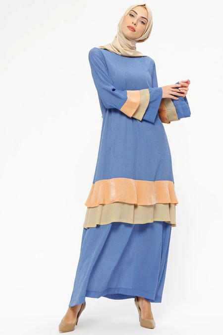 Tekbir Mavi Volanlı Elbise