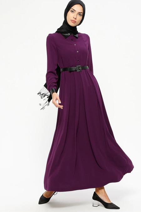 Tekbir Mürdüm Kemerli Elbise