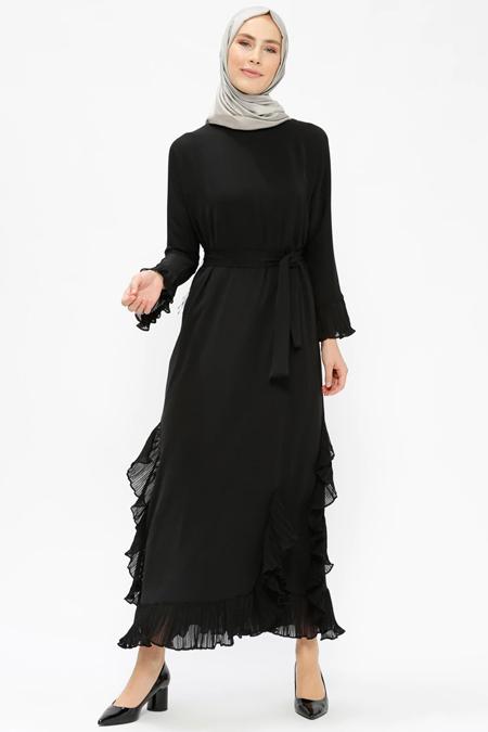 Tuncay Siyah Fırfırlı Elbise