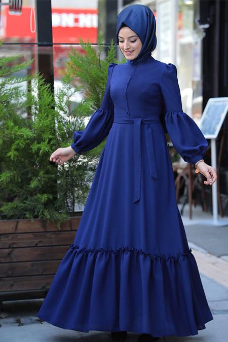 Zehrace İndigo Balon Kollu Abiye Elbise