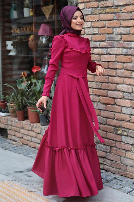 Zehrace Açık Fuşya Emma Fırfırlı Elbise