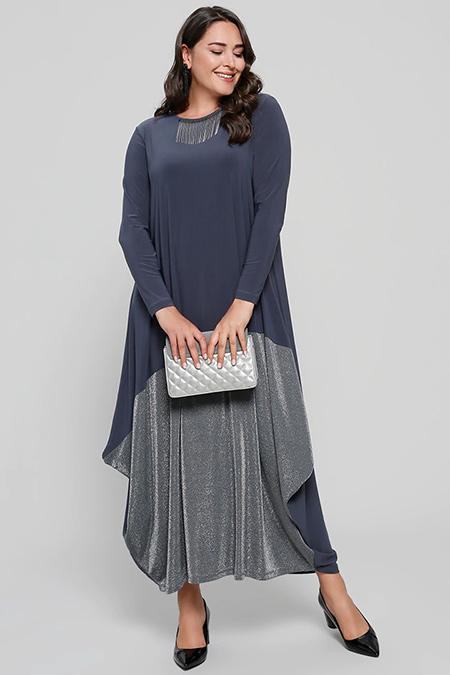 Alia Antrasit Sim Detaylı Abiye Elbise