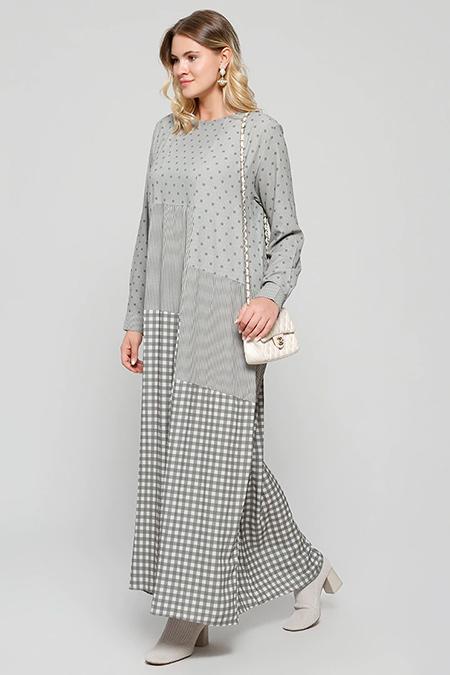 Alia Haki Taş Desenli Elbise